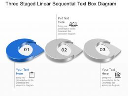 Kn Three Staged Linear Sequential Text Box Diagram Powerpoint Template