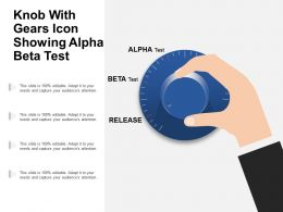 Knob With Gears Icon Showing Alpha Beta Test