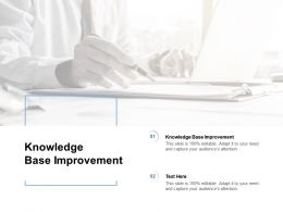 Knowledge Base Improvement Ppt Powerpoint Presentation Show Cpb