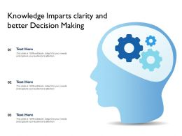 Knowledge Imparts Clarity And Better Decision Making