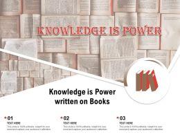Knowledge Is Power Written On Books