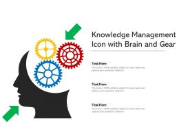 Knowledge Management Icon With Brain And Gear