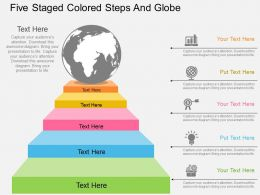 Ko Five Staged Colored Steps And Globe Flat Powerpoint Design
