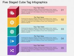 ko Five Staged Cube Tag Infographics Flat Powerpoint Design