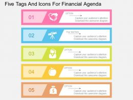 ko Five Tags And Icons For Financial Agenda Flat Powerpoint Design
