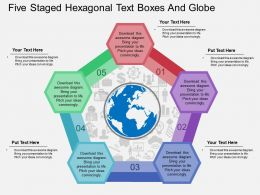 kp Five Staged Hexagonal Text Boxes And Globe Flat Powerpoint Design