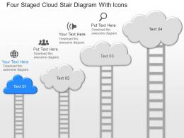 kp Four Staged Cloud Stair Diagram With Icons Powerpoint Template