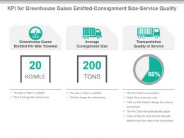 Kpi For Greenhouse Gases Emitted Consignment Size Service Quality Ppt Slide