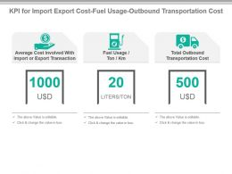 Kpi For Import Export Cost Fuel Usage Outbound Transportation Cost Presentation Slide