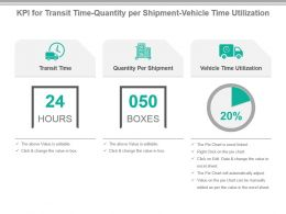 Kpi For Transit Time Quantity Per Shipment Vehicle Time Utilization Presentation Slide