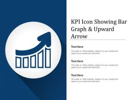 Kpi Icon Showing Bar Graph And Upward Arrow