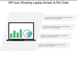 Kpi Icon Showing Laptop Screen And Pie Chart