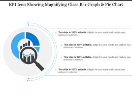 Kpi Icon Showing Magnifying Glass Bar Graph And Pie Chart