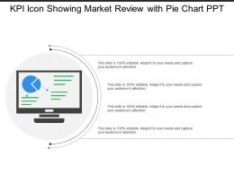 Kpi Icon Showing Market Review With Pie Chart Ppt