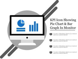 Kpi Icon Showing Pie Chart And Bar Graph In Monitor