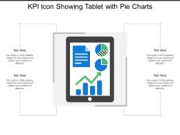 Kpi Icon Showing Tablet With Pie Charts