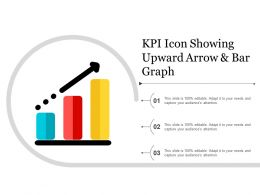 Kpi Icon Showing Upward Arrow And Bar Graph