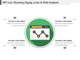 Kpi Icon Showing Zigzag Lines And Web Analysis