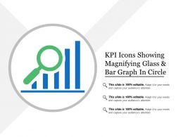 Kpi Icons Showing Magnifying Glass And Bar Graph In Circle