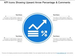Kpi Icons Showing Upward Arrow Percentage And Comments