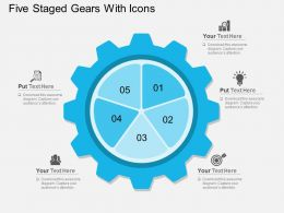 Kq Five Staged Gears With Icons Flat Powerpoint Design