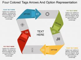 kq Four Colored Tags Arrows And Option Representation Flat Powerpoint Design