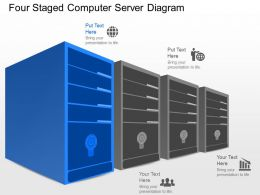 kq Four Staged Computer Server Diagram Powerpoint Template