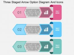 kq Three Staged Arrow Option Diagram And Icons Flat Powerpoint Design