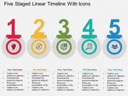 Kr Five Staged Linear Timeline With Icons Flat Powerpoint Design