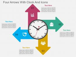 kr Four Arrows With Clock And Icons Flat Powerpoint Design