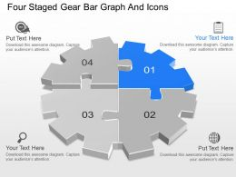ks Four Staged Gear Bar Graph And Icons Powerpoint Template