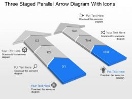 Ks Three Staged Parallel Arrow Diagram With Icons Powerpoint Template