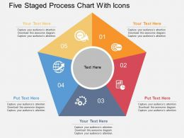 Kt Five Staged Process Chart With Icons Flat Powerpoint Design