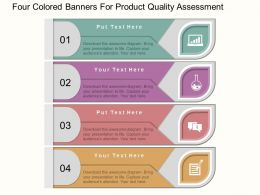 kt Four Colored Banners For Product Quality Assesment Flat Powerpoint Design