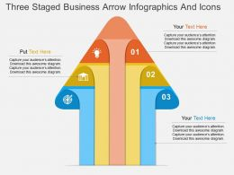 kt Three Staged Business Arrow Infographics And Icons Flat Powerpoint Design