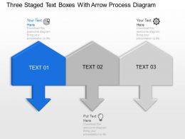 Kt Three Staged Text Boxes With Arrow Process Diagram Powerpoint Template