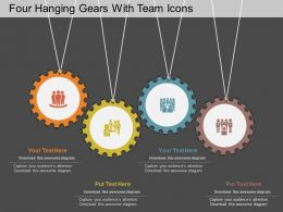 ku Four Hanging Gears With Team Icons Flat Powerpoint Design