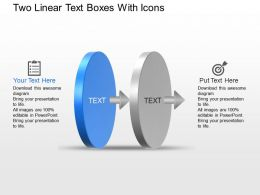 Ku Two Linear Text Boxes With Icons Powerpoint Template