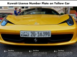 Kuwait License Number Plate On Yellow Car