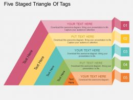 Kv Five Staged Triangle Of Tags Flat Powerpoint Design