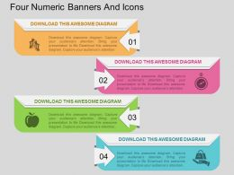kv Four Numeric Banners And Icons Flat Powerpoint Design