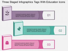 kv Three Staged Infographics Tags With Education Icons Flat Powerpoint Design