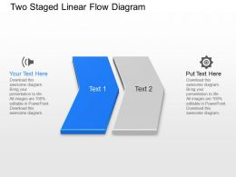 Kv Two Staged Linear Flow Diagram Powerpoint Template