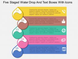 Kw Five Staged Water Drop And Text Boxes With Icons Flat Powerpoint Design