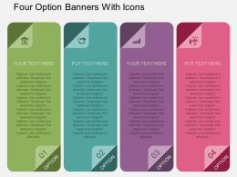 kw Four Option Banners With Icons Flat Powerpoint Design