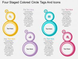 kw Four Staged Colored Circle Tags And Icons Flat Powerpoint Design