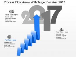 kw Process Flow Arrow With Target For Year 2017 Powerpoint Template