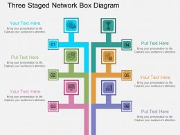 kw Three Staged Network Box Diagram Flat Powerpoint Design