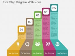 Kx Five Step Diagram With Icons Flat Powerpoint Design