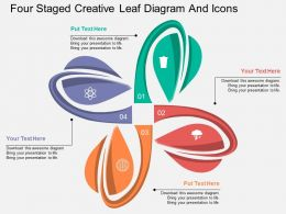 kx Four Staged Creative Leaf Diagram And Icons Flat Powerpoint Design